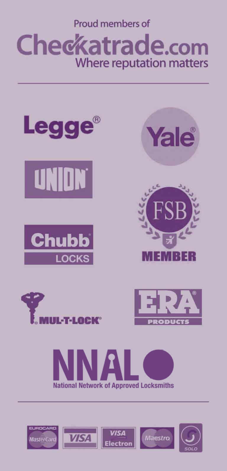 Yale, Union, Chubb Locks, FSB Member, Multi Lock,  ERA